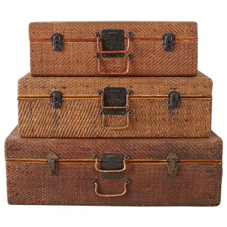 Set of Three Rattan Raffia Clad Wooden Suitcases For Sale