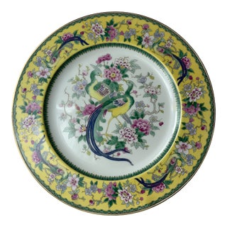 Bavarian Black Knight Porcelain Yellow Exotic Bird Dinner Plates For Sale