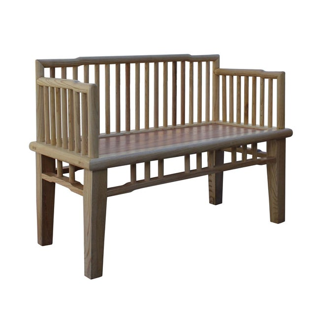 Zen Unfinished Wood Double Seat Bench - Image 4 of 6