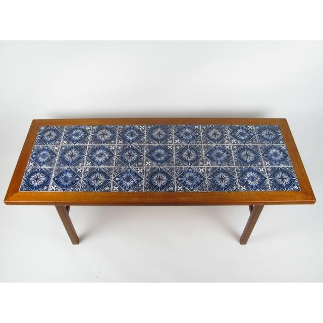 Danish Modern Danish Modern Teak Coffee Table With Royal Copenhagen Tile Inserts For Sale - Image 3 of 5