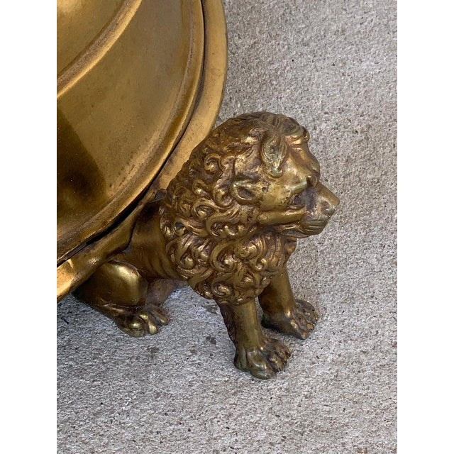Antique English Brass and Mahogany Lion Motif Pub Table For Sale In Atlanta - Image 6 of 10