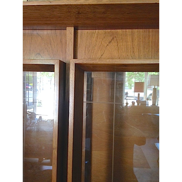Mid-Century Etched Doors Teak Hutch Cabinet - Image 4 of 10