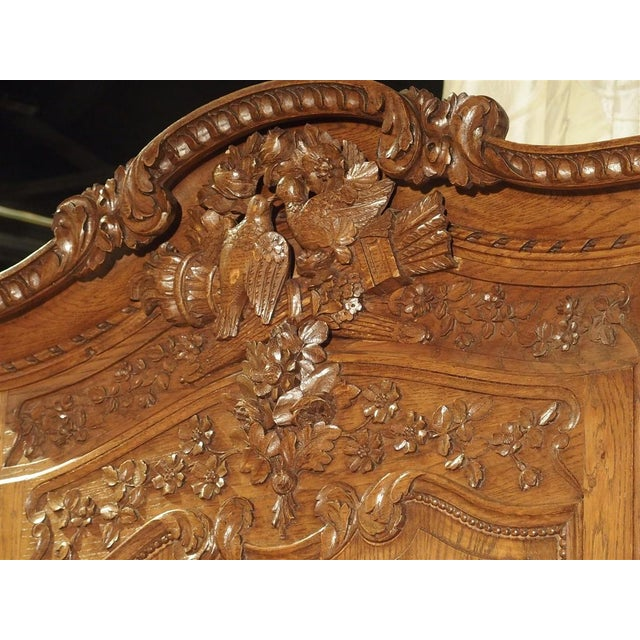 Carved Oak Wedding Cabinet and Chest of Drawers From Normandy, Early 1900s For Sale - Image 10 of 13
