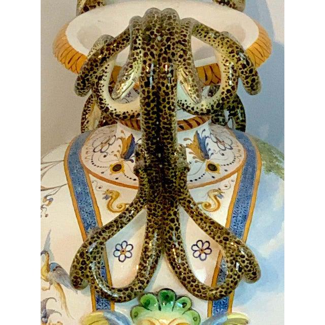Stunning Ginori Majolica Allegorical Serpent Handled Vase For Sale - Image 10 of 13