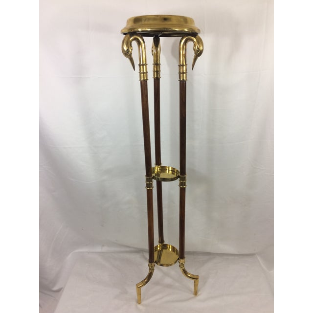 Empire Napoleon III Empire Mahogany and Brass Stand with Swan Heads For Sale - Image 3 of 9