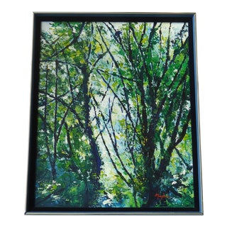 1980s Vintage Forest Canopy Painting by Maybrier For Sale