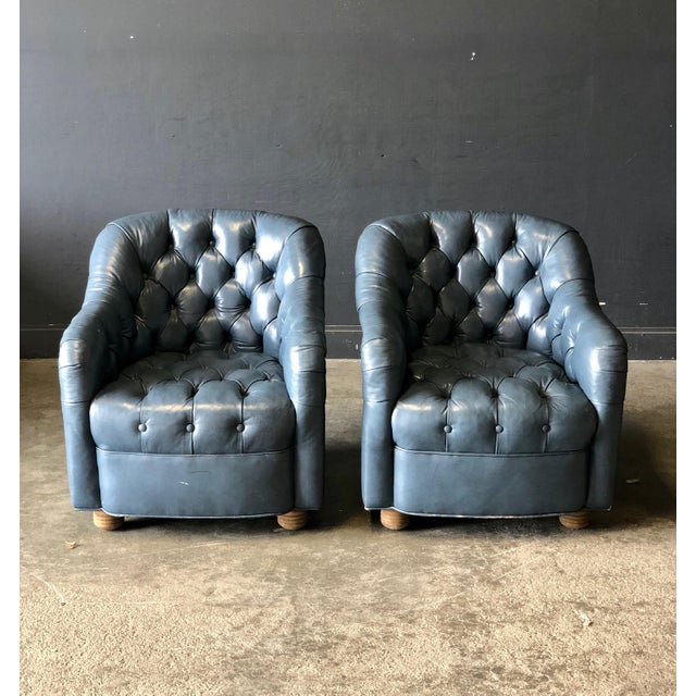 A Pair of Blue Leather Club Chairs For Sale - Image 9 of 9