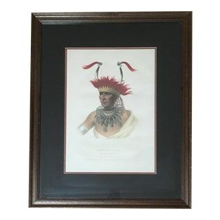 """Vintage McKenney & Hall """"Chon-Man-I-Case"""" Native American Portrait Framed Print For Sale"""