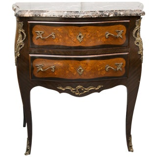 Louis XV Style Two-Drawer Commode With Varigated Marble Top For Sale