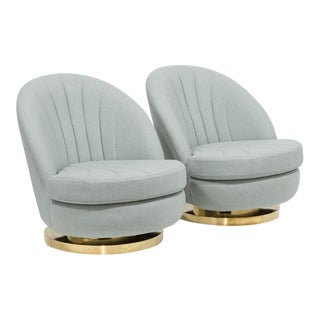 Pair of Milo Baughman Swivel Tilt Armchairs 1970s
