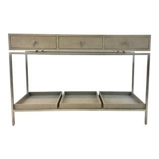 Modern Studio a Linen Wrapped Alexander Gray Console Table For Sale