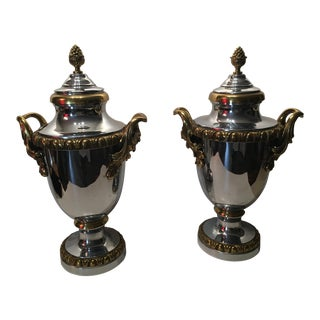 Georgian Style Stainless Steel and Brass Lidded Urns - a Pair For Sale
