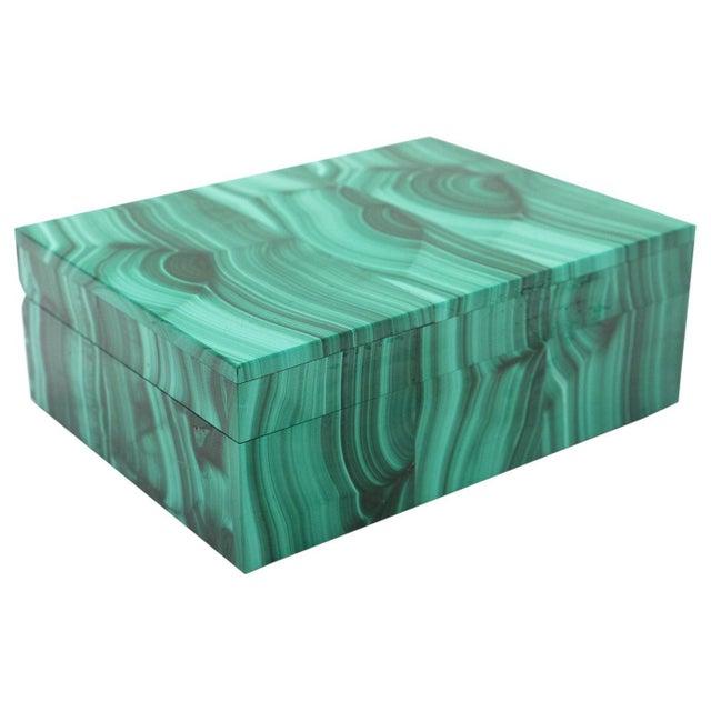 Emerald Malachite Semi-Precious Stone Box For Sale - Image 8 of 8