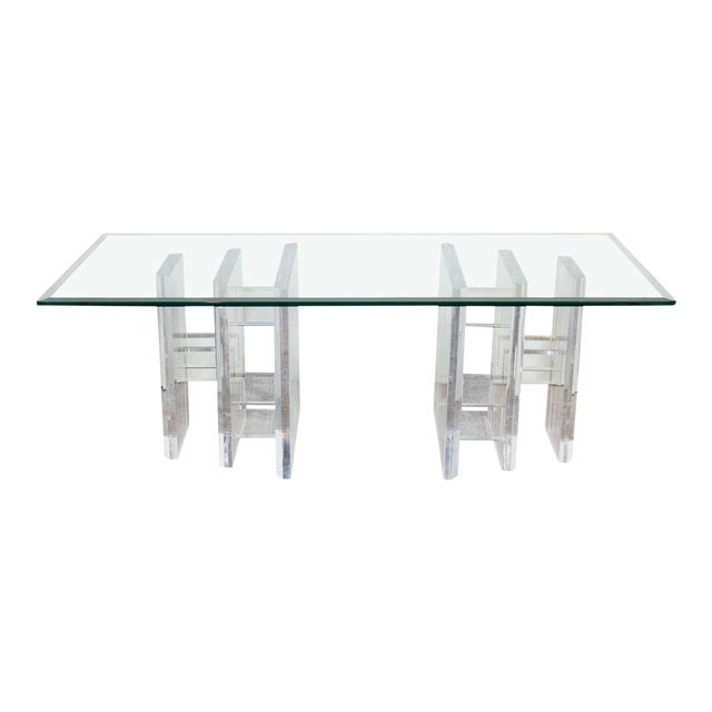 Sophisticated Mid-Century Modern Lucite and Glass Cocktail Table For Sale