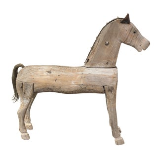 Antique Carved Wooden Horse With Leather Ears and Horsehair Tail For Sale