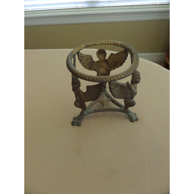 Vintage Solid Brass Display Stand With 3 Cherubs, Loin's Feet and Braided Round Top For Sale - Image 5 of 8