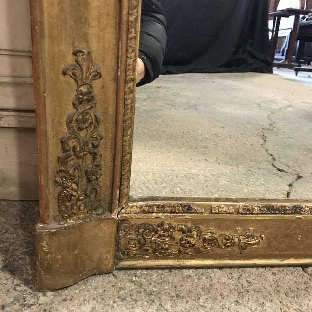 Gold Large 19th Century French Empire Giltwood Mirror For Sale - Image 8 of 11