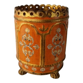 Vintage Italian Handmade and Painted Terracotta Planter For Sale