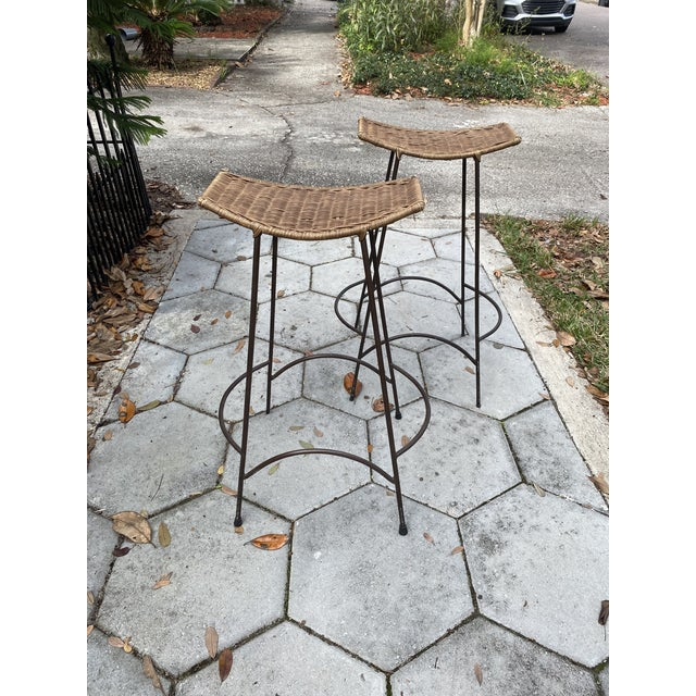 Brown Mid Century Modern Arthur Umanoff Wicker Barstools- a Pair For Sale - Image 8 of 8