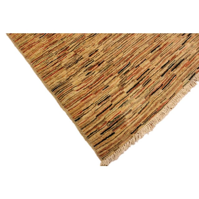 Boho Chic Gabbeh Peshawar Tena Tan/Rust Hand-Knotted Wool Rug -3'2 X 4'10 For Sale - Image 4 of 8