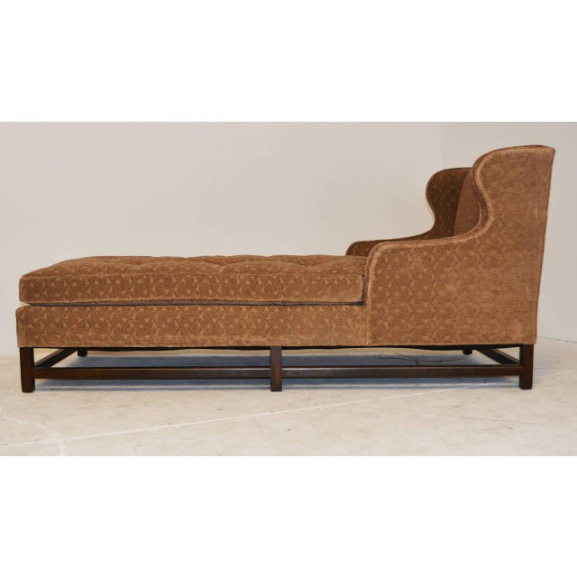 Mid-Century Modern Wingback Chaise with Walnut Legs and Stretchers For Sale - Image 4 of 5