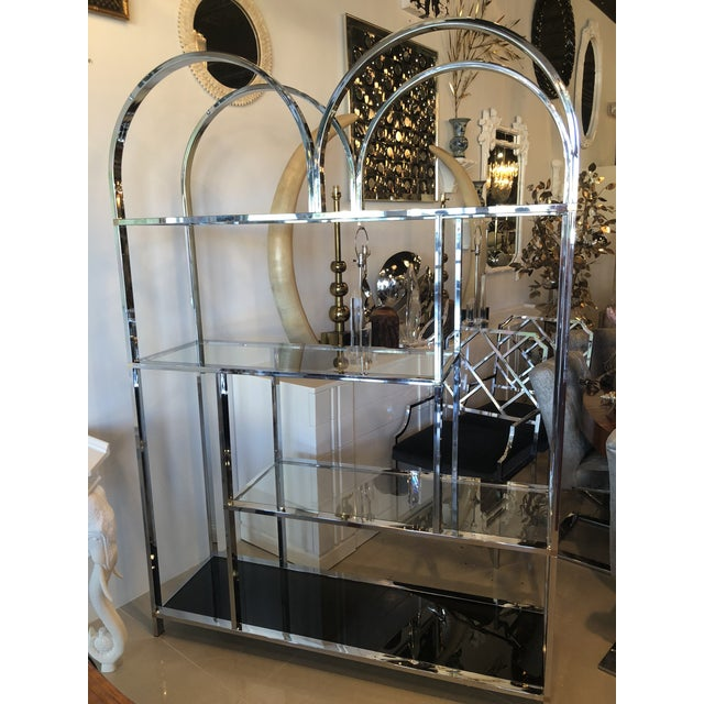 Vintage Arched Chrome Glass Display Shelf Shelves Etagere For Sale In West Palm - Image 6 of 13