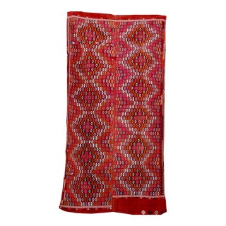 Vintage Handmade Bohemian Design Red and Pink Kilim Rug - 5′5″ × 10′3″ For Sale