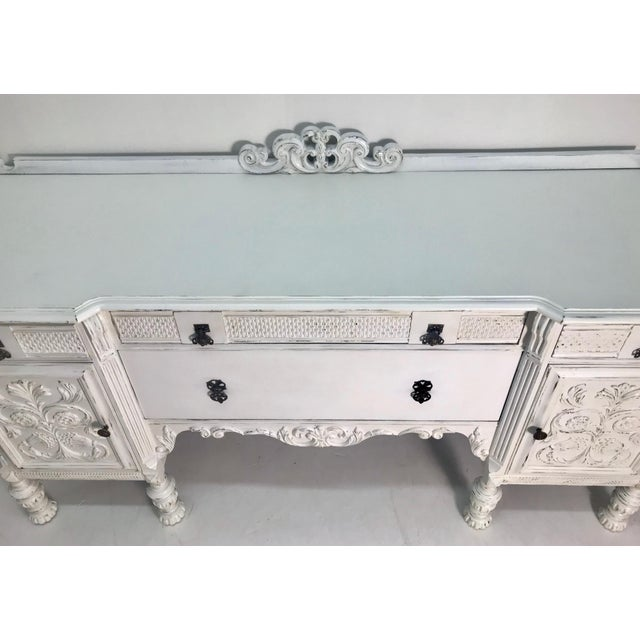 1900-1930s White Carved Buffet For Sale - Image 4 of 8