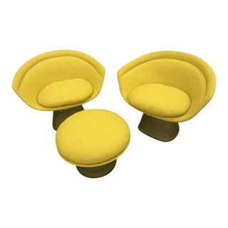 Warren Platner Yellow Upholstered Chairs and Ottoman Set - 3 Pc.