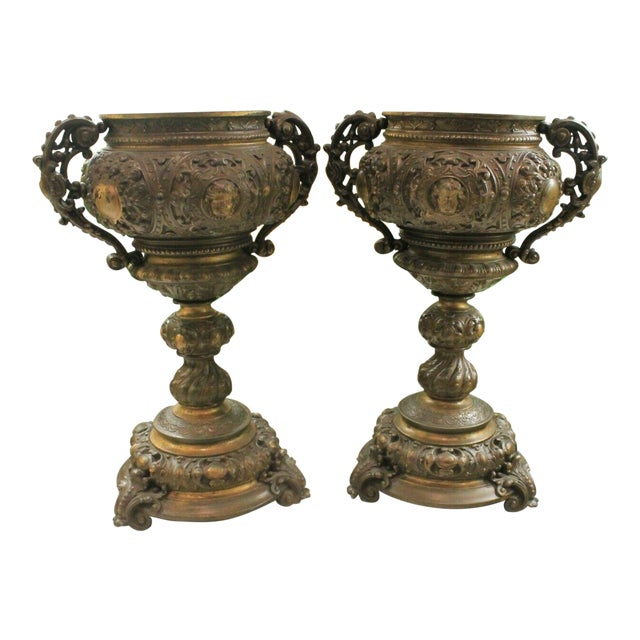 Antique French Spelter Planters Urns Jardinieres Vases Renaissance - a Pair For Sale