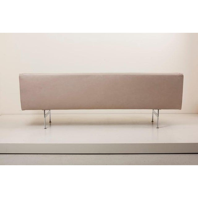 Milo Baughman for Thayer Coggin tufted sofa. New upholstered in grey leather with chrome legs.