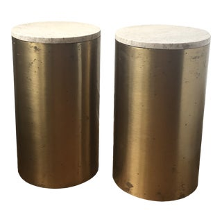 1970s Brass and Travertine Drum Side Tables - a Pair For Sale