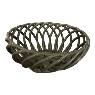 1990s Ceramic Woven Army Green Bread Basket For Sale