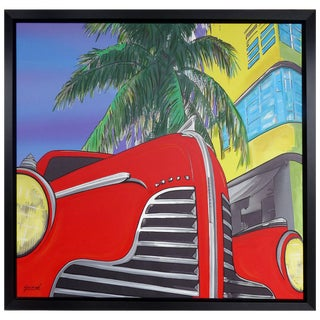 "Mixed-Media on Canvas Titled ""the Red Car"" by Garmed Dated 2016 For Sale"