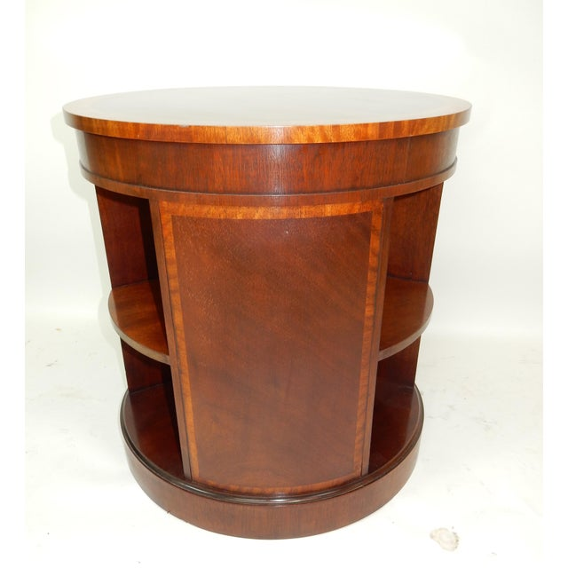 Baker Furniture Inlaid Banded Mahogany Drum Shaped Book Case For Sale - Image 11 of 13