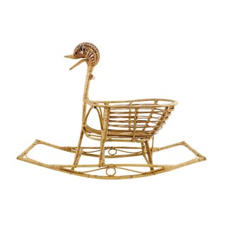 Vintage Mid-Century Danish Bamboo Rattan Wicker Rocking Duck Plant Holder For Sale