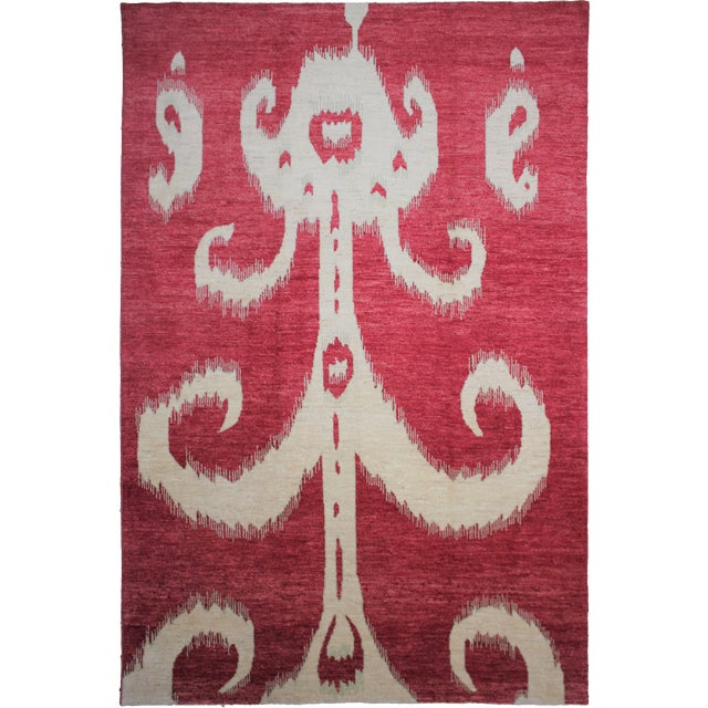 "Hand Knotted Ikat Rug - 14'2"" X 10'1"" For Sale"