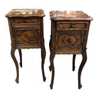 19th Century Italian Marble Top Walnut Chenets - a Pair