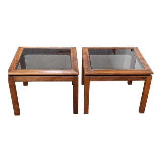 1970s Mid-Century Modern Walnut and Glass Side Tables With Black Accents - a Pair For Sale