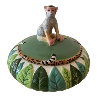 Lynn Chase Atelier Jungle Jubile Lidded Box With Monkey Motiv For Sale