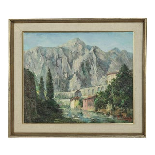 Mid- Century Original Painting on Canvas by Tilleux of Italian Alps For Sale