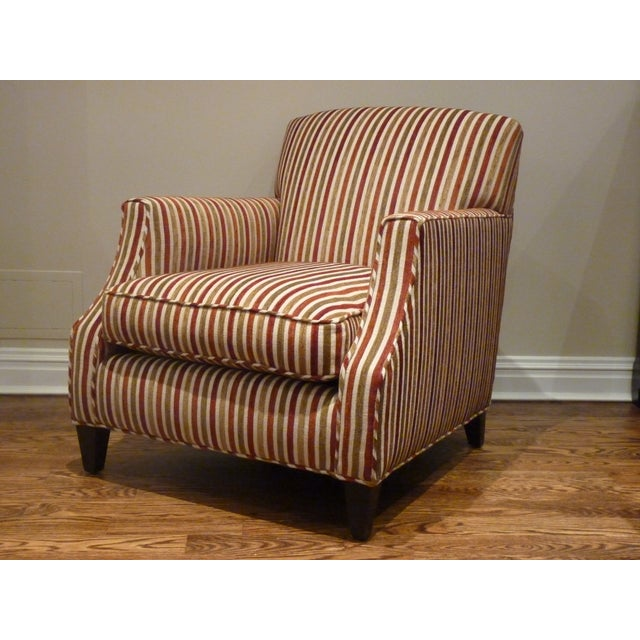 Crate & Barrel Striped Club Chair - Image 3 of 6