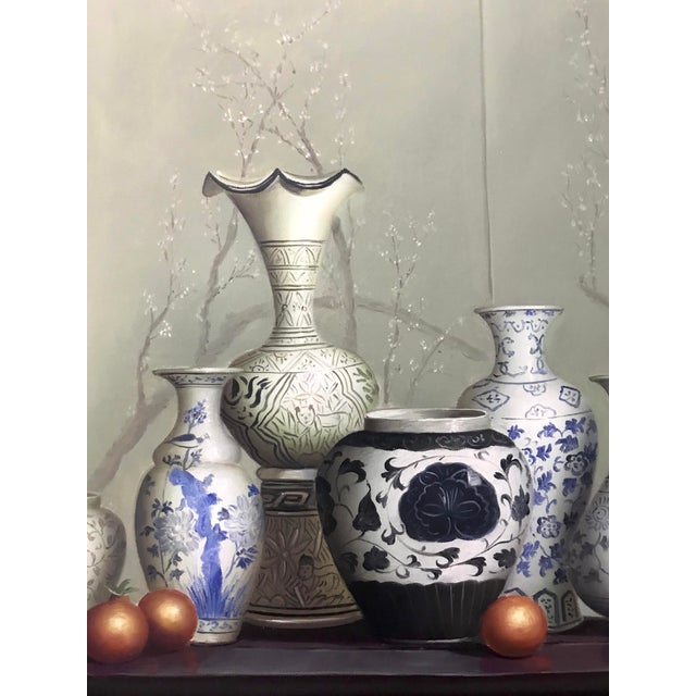 """Chinese Vases on the Altar Table"" - Vintage Framed Oil Painting on Canvas For Sale - Image 4 of 7"