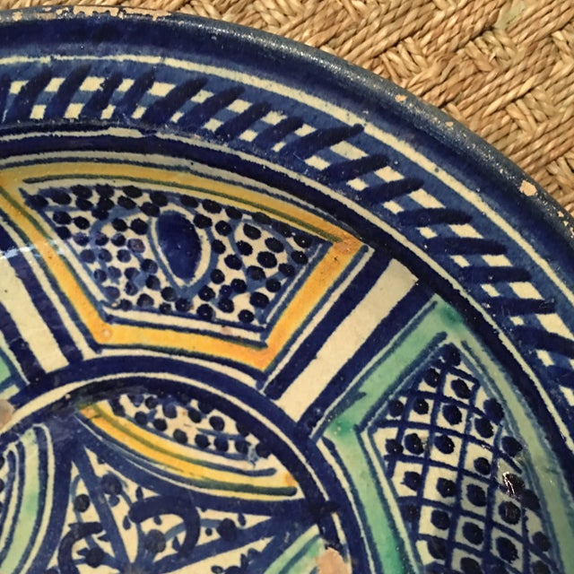 Blue Moroccan Antique Bowl For Sale - Image 8 of 9