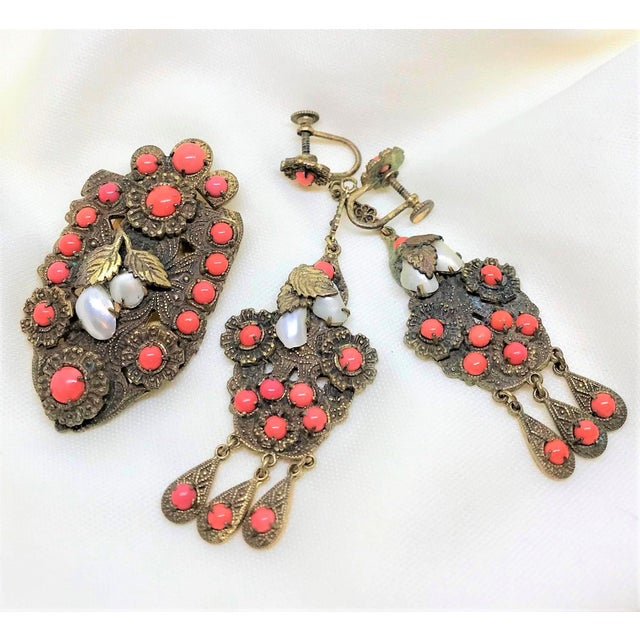 1920s Vintage Czech Faux-Coral Earrings and Dress Clip Set For Sale - Image 4 of 6