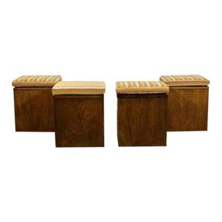 Mid Century Modern Walnut Cube Seats Stools Ottomans 1960s - Set of 4 For Sale