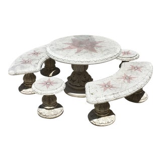 Outdoor Terrazzo Marble Table Dining Set - 5 Pieces For Sale