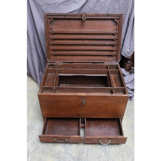 19th Century Anglo-Indian Solid Teakwood Box With Inside Trays For Sale - Image 4 of 9