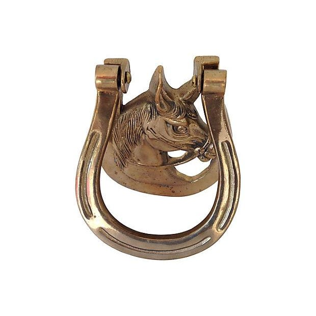 Bring good fortune and equestrian grace to your front door with this midcentury brass horse head door knocker. Retains...