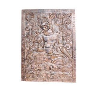 1990s Vintage Indian Sitting Buddha Wall Panel For Sale